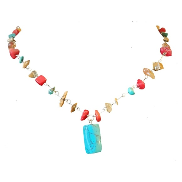 New York & Company Jewelry - NY Turquoise & Agate Necklace